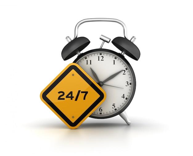 Renderização de ilustração de relógio com sinal de estrada 24/7