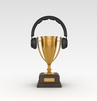 Renderização de ilustração de troféu com fone de ouvido