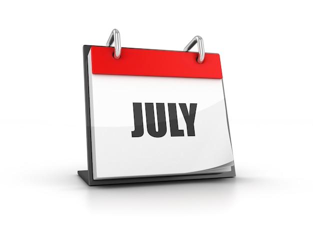Renderização de ilustração do calendário de julho