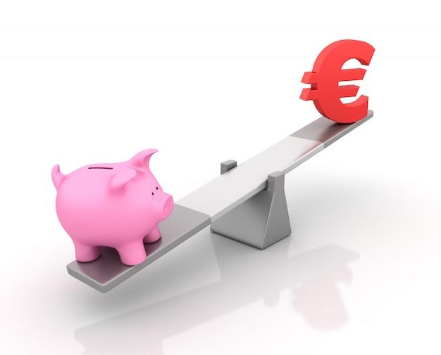Renderização de ilustração do cofrinho e sinal de euro equilibrando em uma gangorra