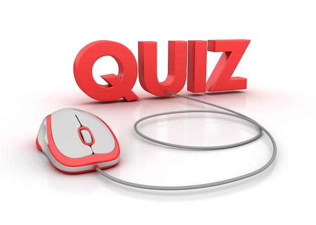 Renderização de ilustração do quiz word com alvo e mouse de computador