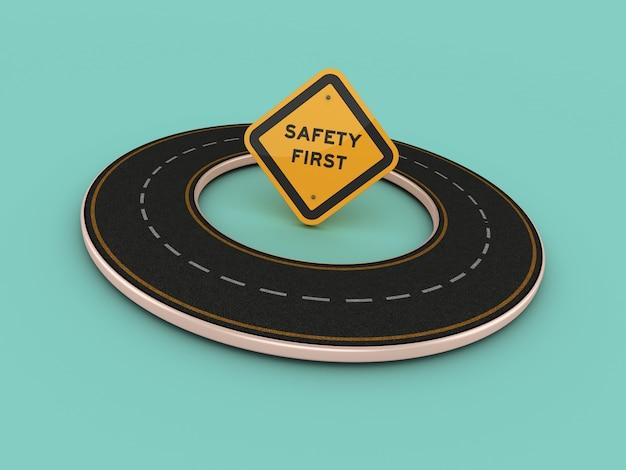 Renderização de ilustração do riad circular com segurança primeiro sinal de estrada