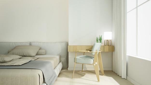 Renderização de interiores 3d espaço quarto no hotel