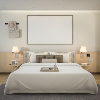 Renderização de luxo moderno quarto suite no hotel