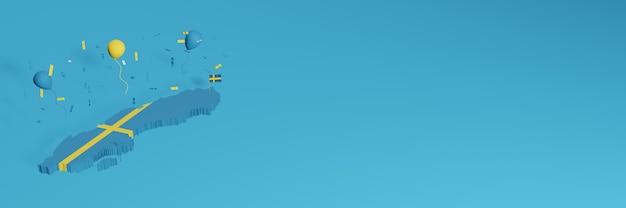 Renderização de mapa 3d combinada com a bandeira da suécia para mídia social e capas de fundo de site adicionadas balões azuis amarelos para celebrar o dia da independência, bem como o dia nacional de compras