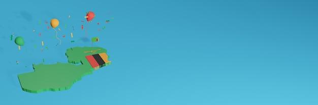 Renderização de mapa 3d combinada com a bandeira da zâmbia para mídia social e capa de fundo do site adicionada balões amarelos pretos verdes vermelhos para comemorar o dia da independência e o dia nacional de compras