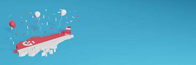 Renderização de mapa 3d combinada com a bandeira de cingapura para mídia social e capa de fundo de site adicionada balões vermelhos e brancos para comemorar o dia da independência e o dia nacional de compras