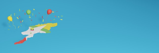 Renderização de mapa 3d combinada com a bandeira do estado de mianmar para mídia social e capa de fundo do site adicionada balões brancos verdes amarelos vermelhos para comemorar o dia da independência e o dia nacional de compras