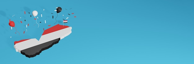Renderização de mapa 3d combinada com a bandeira do país do iêmen para mídia social e capas de fundo de site adicionadas balões pretos e brancos vermelhos para comemorar o dia da independência e o dia nacional de compras