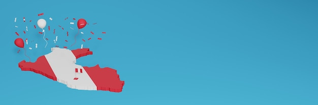 Renderização de mapa 3d combinada com a bandeira do peru para mídia social e capa de fundo do site adicionada balões brancos vermelhos para comemorar o dia da independência e o dia nacional de compras