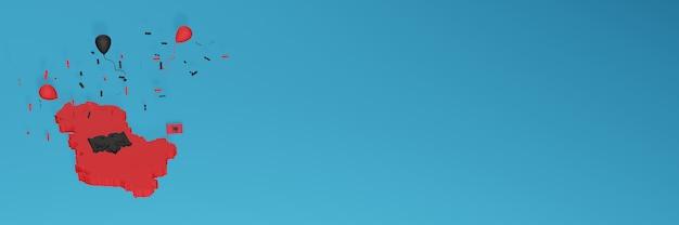 Renderização de mapa 3d da bandeira da albânia para mídia social e site de capa
