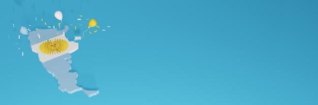 Renderização de mapa 3d da bandeira da argentina para mídia social e site de capa