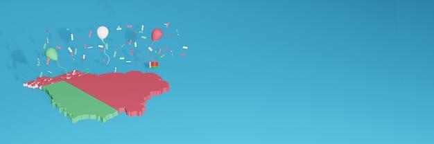 Renderização de mapa 3d da bandeira da bielorrússia para mídia social e site de capa