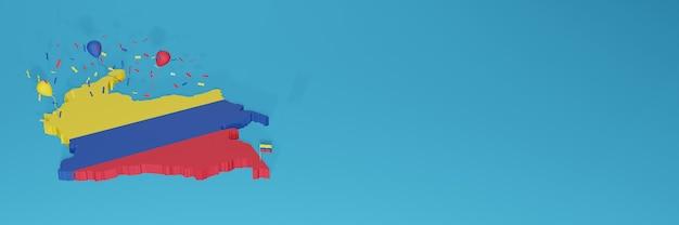 Renderização de mapa 3d da bandeira da colômbia para mídia social e site de capa
