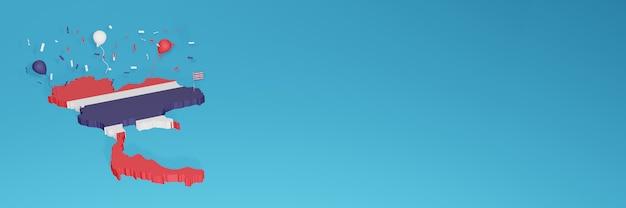 Renderização de mapa 3d da bandeira da costa rica para mídia social e site de capa