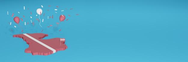 Renderização de mapa 3d da bandeira da letônia para mídia social e site de capa