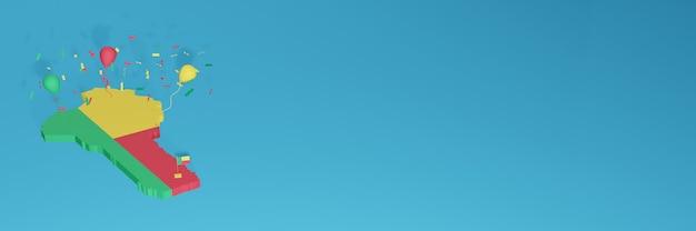 Renderização de mapa 3d da bandeira de benin para mídia social e site de capa