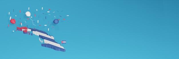 Renderização de mapa 3d da bandeira de cuba para mídia social e site de capa