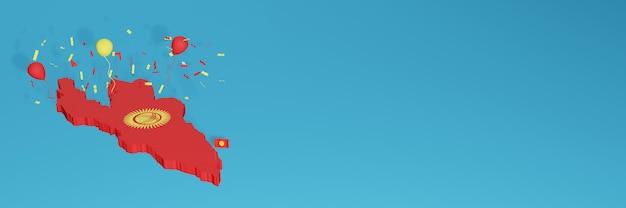 Renderização de mapa 3d da bandeira do quirguistão para mídia social e site de capa