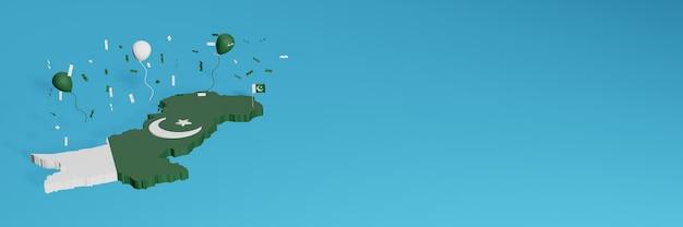 Renderização de mapa 3d em combinação com a bandeira do paquistão para mídia social e capa de fundo de site adicionada balões brancos verdes para comemorar o dia da independência e o dia nacional de compras
