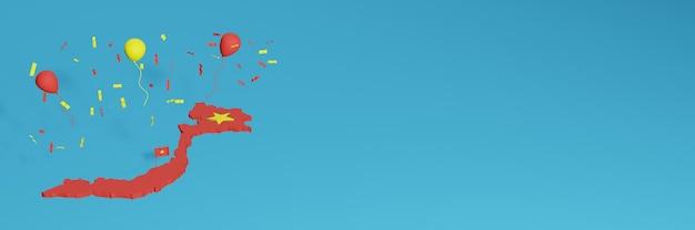 Renderização de mapa 3d em combinação com a bandeira do vietnã para mídia social e cobertura de fundo do site adicionada balões amarelos vermelhos para comemorar o dia da independência e o dia nacional de compras