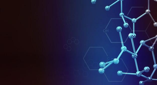 Renderização de molécula 3d para conteúdo de ciência.