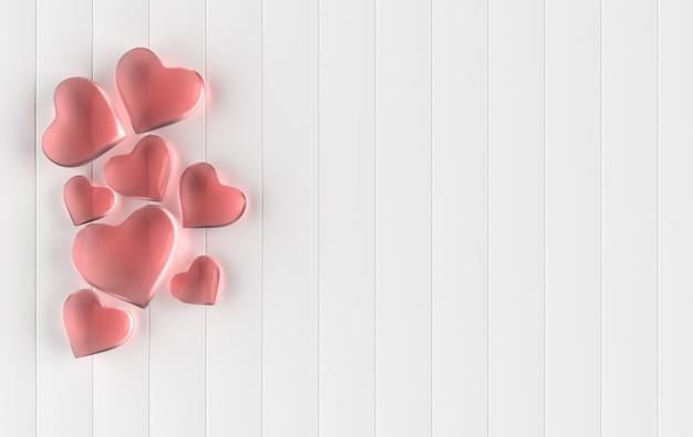 Renderização de padrão de fundo de corações de vidro para namorados