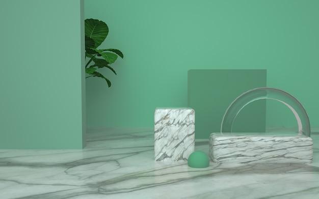 Renderização de palco geométrico com conceito natural para produto de estande