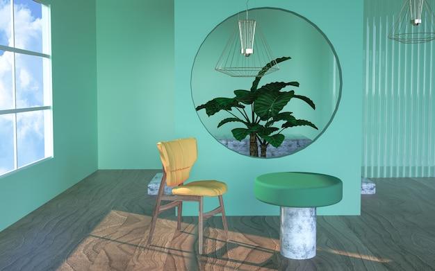 Renderização de palco geométrico com mesas e cadeiras para produto stand