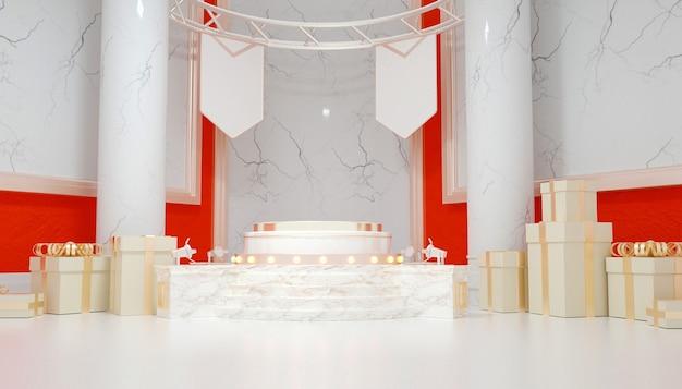 Renderização de pedestal abstrato com paredes de mármore para produto de estande