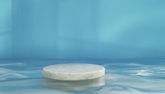 Renderização de pódio de forma circular na água para produto de estande