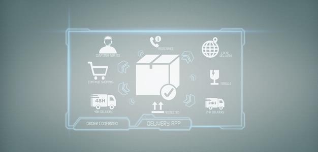 Renderização de tela de aplicação logística entrega 3d