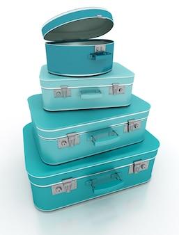 Renderização de uma pilha de malas azuis com visual retrô