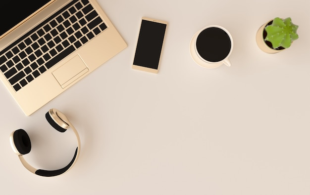 Renderização de xícara de café com fones de ouvido para laptop
