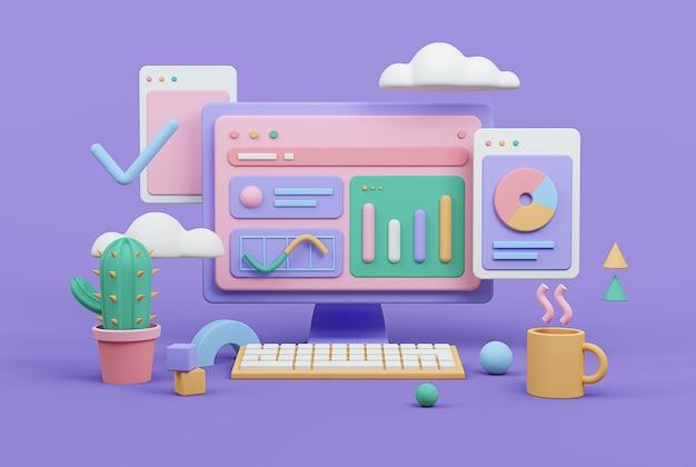 Renderização digital no local de trabalho tema de análise de negócios e finanças