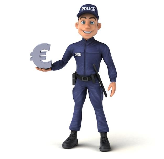 Renderização divertida em 3d de um policial de desenho animado