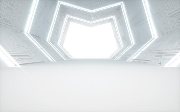 Renderização do cinema 4d de um fundo abstrato de sala branca com luzes brancas para maquete de exibição