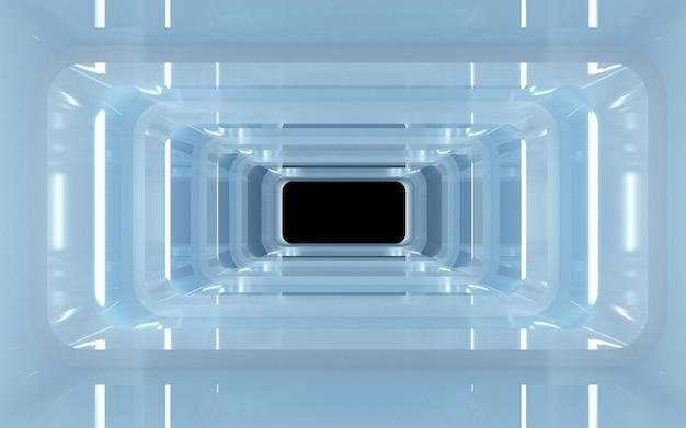 Renderização do cinema 4d de um fundo de túnel quadrado com luz neon azul para uma maquete de exibição