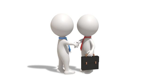 Renderização do cinema 4d de uma ilustração de um ser humano apertando a mão de um empresário