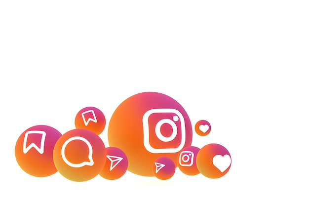 Renderização do conjunto de ícones do instagram em fundo branco