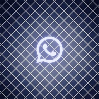Renderização do efeito de néon do sinal do whatsapp