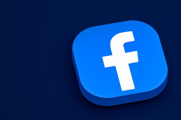 Renderização do ícone 3d do logotipo do facebook