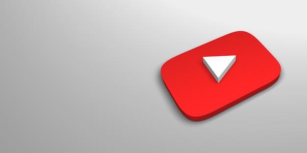 Renderização do logotipo 3d do site de vídeo