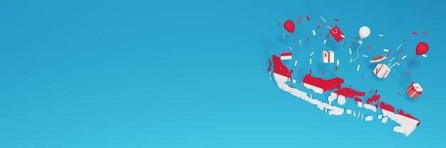 Renderização do mapa 3d da bandeira da indonésia para comemorar o dia nacional das compras e o dia da independência