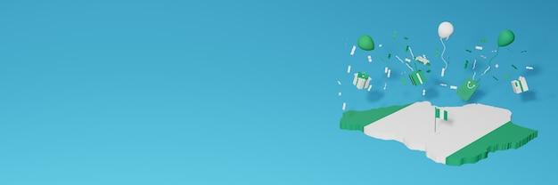 Renderização do mapa 3d da bandeira da nigéria para comemorar o dia nacional das compras e o dia da independência