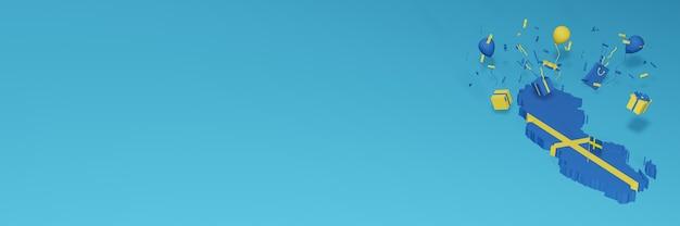 Renderização do mapa 3d da bandeira da suécia para comemorar o dia nacional de compras e o dia da independência