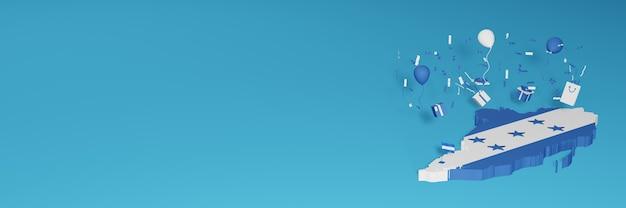 Renderização do mapa 3d da bandeira de honduras para comemorar o dia nacional de compras e o dia da independência