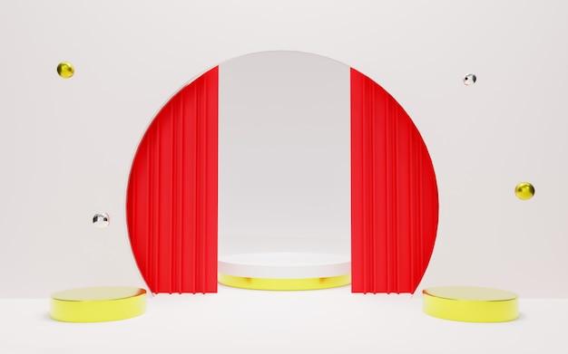 Renderização do pódio premium abstrato branco.
