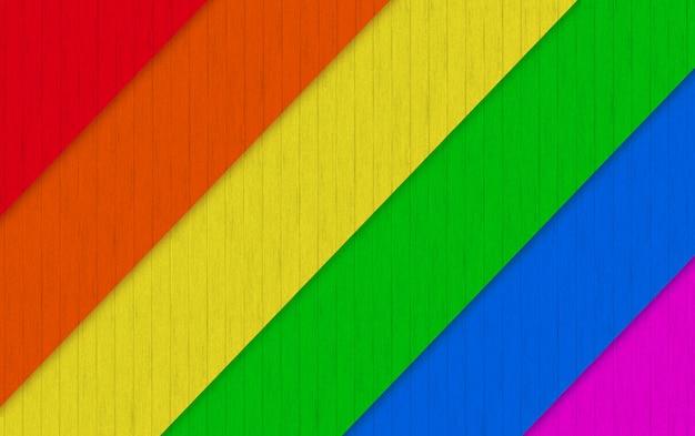 Renderização em 3d. a madeira diagonal do arco-íris de lgbt almofada o fundo da parede.