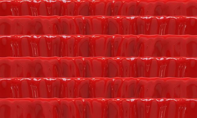 Renderização em 3d. abstraia diversos fundo nivelado vermelho da parede do teste padrão.